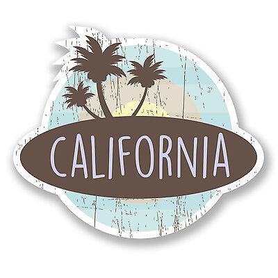 2 x 10cm California USA Vinyl Sticker Laptop Car Travel Luggage Tag Map #9411