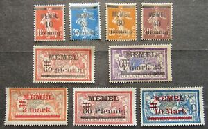 "Memel 1920 French Stamps ovptd ""MEMEL"", incompl.set, Mi #18-32 MH"