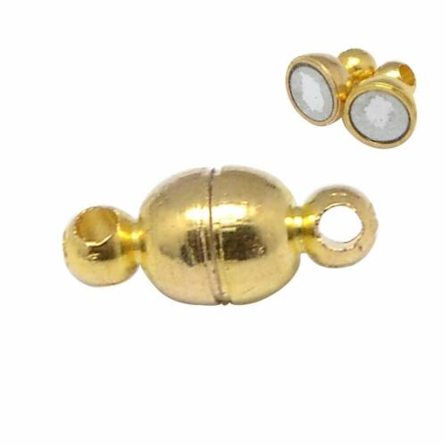100 Sets 11x5mm Round Brass Magnetic Clasps Oval Nickel Free for Jewelry Making