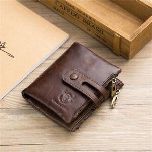 Herren-Geldboerse-Echtes-Leder-Portemonnaie-Geldbeutel-mit-Reissverschluss-RFID-DE