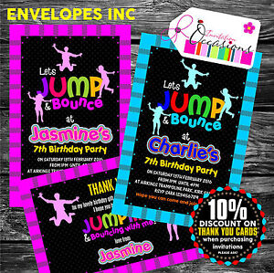 Details About Personalised Childrens Trampoline Party Invitations Or Thank You Notes X 5