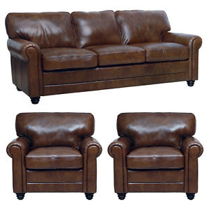 New Luke Leather Italian Brown Down 3 Piece Set 1 Sofa