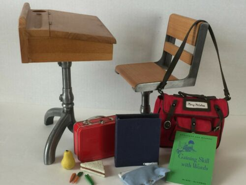 American Girl Doll Mollys School Desk, Bag & Supplies, Red Lunchbox & Food 1940s
