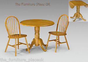 Details About Dundee Solid Wood Drop Leaf Table Dining Set In Honey Pine Finish 2 Or 4 Chairs