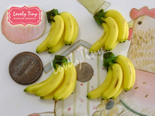 Dollhouse miniature Fruit:4 loose Fresh Banana Brunch4
