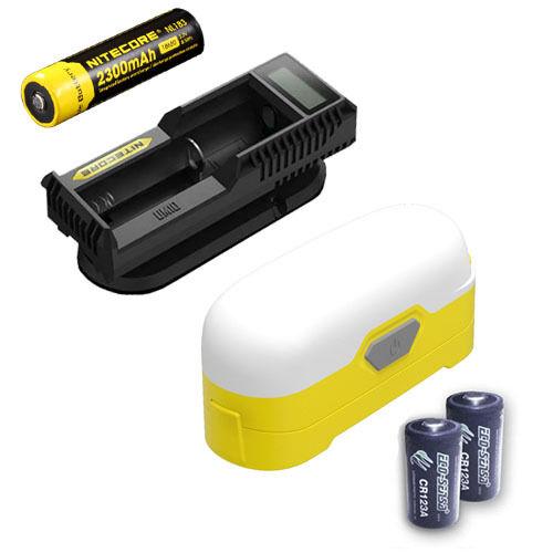 Nitecore LR30 Camping Lantern Yellow w NL183, UM10, & 2x CR123A Batteries