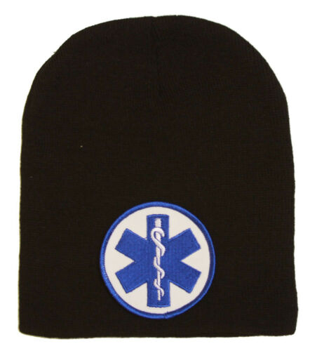 Delux Military 3D Patch Embroidery Black Beanie Emergency Medical Service