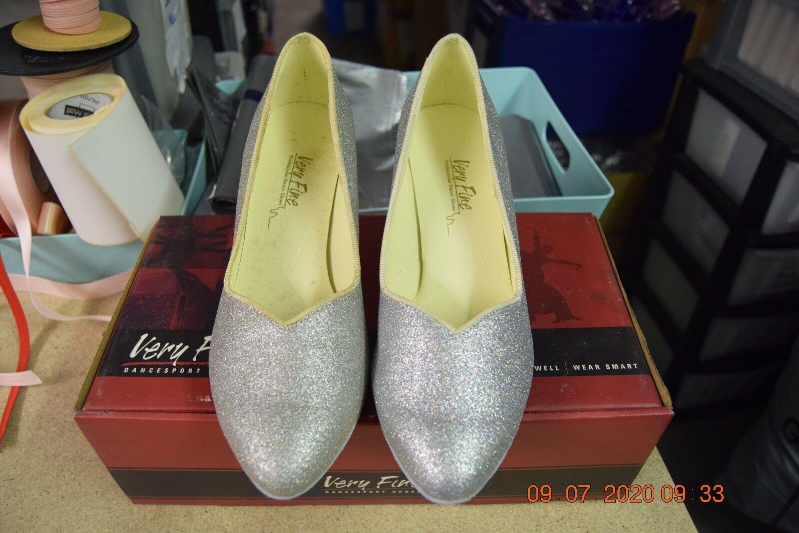 Silver glitter Very Fine Cinderella ballroom latin dance shoes - size UK 6