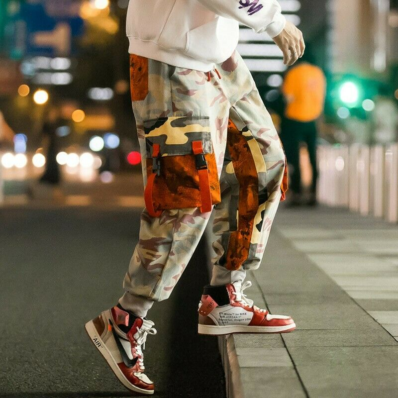 Mens camouflage pants spring street new loose fit colorful Harem trousers 2019