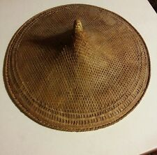 """015 ASIAN CONICAL Hat  bamboo straw VINTAGE  COOLIE RICE PADDY FARMER 23"""""""