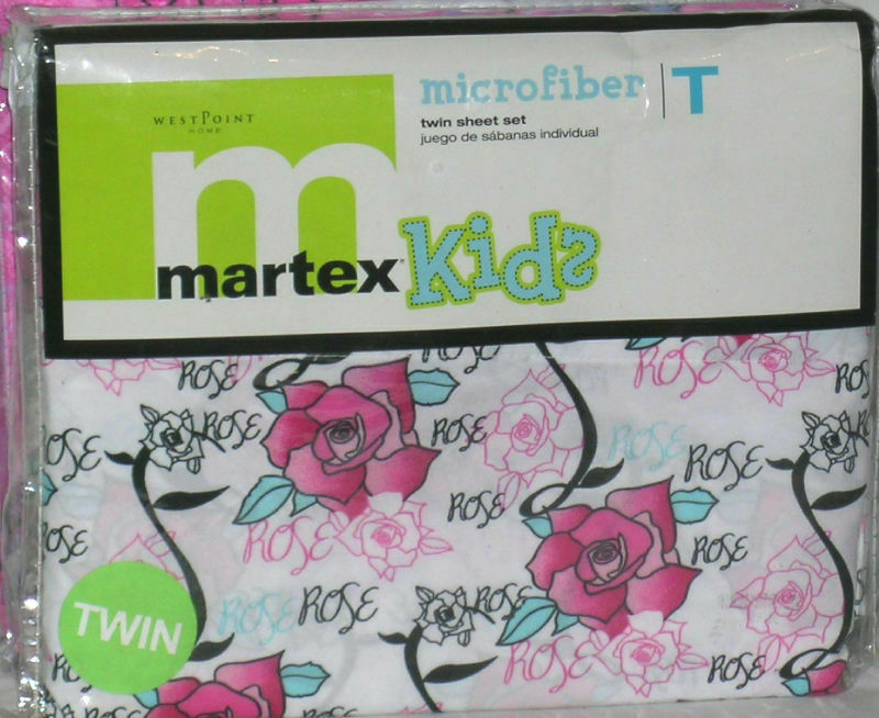 Martex Kids Sheet Set Twin pinks Girly Floral Microfiber First Quality New