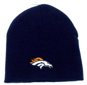a18df1b535f2c Image is loading NFL-Football-Denver-Broncos-Blue-Beanie-Knit-Hat-