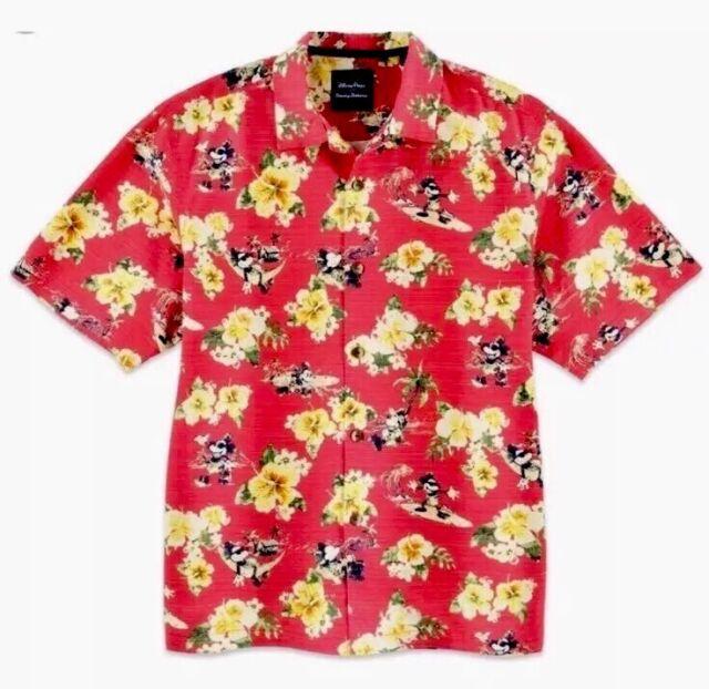 508a7aa3 ... Disney Parks Tommy Bahama Mickey Mouse Hawaiian Floral Camp Shirt Sz