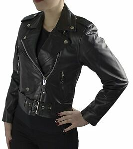Buffalo buffle de motard Veste Veste Lady xs 2xl cuir Biker cultivée Gr cuir nappa véritable noir wHqP4xXP