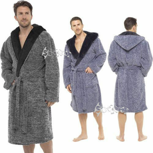 Navy//Hooded, X-Large STONEBRIDGE Mens Luxury Super Soft Men Dressing Gown Hooded Bathrobe