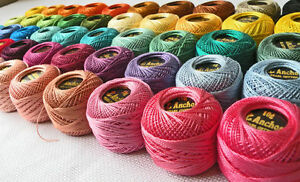40-ANCHOR-Pearl-Cotton-Crochet-Threads-Balls-J-amp-P-Size-8-85-Meters-each-New