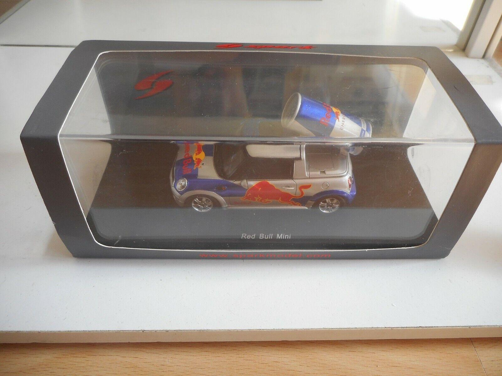 Spark Mini Cooper rosso Bull in grigio blu on 1 43 in Box