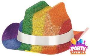 Pride Rainbow Mini Glitter Cowboy Hat LGBT Festival Parade Fancy ... 89445e56b44a