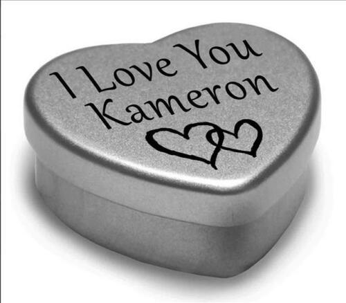 I Love You Kameron Mini Heart Tin Gift For I Heart Kameron With Chocolates