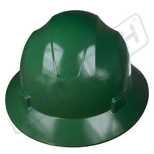 GREEN-HARD-HAT-FULL-BRIM-JORESTECH-4-POINT-RATCHET-SUSPENSION-CONSTRUCTION-ANSI