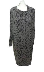 NICOLE-FARHI-Jersey-Tunic-Dress-Dark-amp-Mid-Grey-Abstract-Design-M-Excellent-C