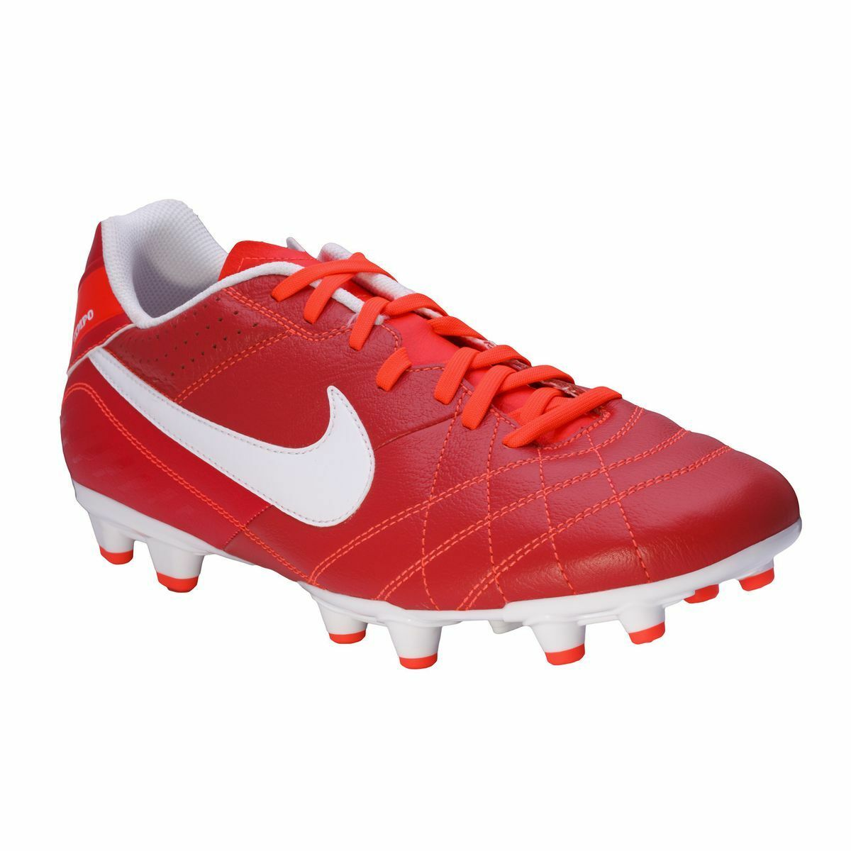 Nike Men's Tiempo Natural Iv Leather Fg botas De Fútbol-Rojo-UK 6-Nuevo