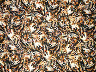 Packed WOLF & WOLVES in the WILD  : 100% cotton WILDLIFE  fabric BT1/2M