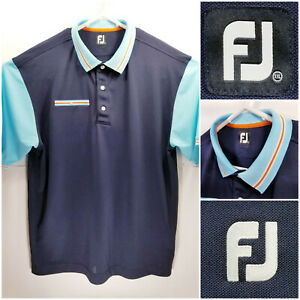 FootJoy-FJ-Mens-2XL-XXL-Golf-Shirt-Polo-Blue-Polyester