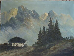 Jean-Coune-1900-Dusseldorf-Alpi-Dolomiti-Dipinto-a-Olio-Antico-Firmato-Beschadig