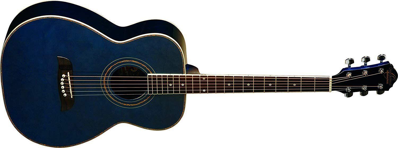 Oscar Schmidt 6 String OF2 Folk Acoustic Guitar. Trans Blau Transparent Blau...