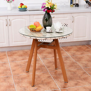 Round Dining Table Steel Frame Tempered Glass Top Home Decor Kitchen Furniture
