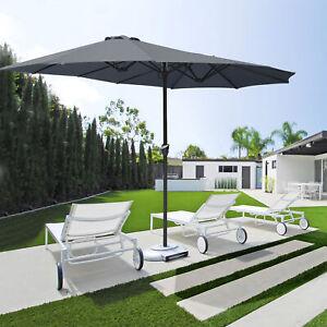 15ft Double-sided Large Patio Twin Umbrella Outdoor Garden Market SunShade Crank