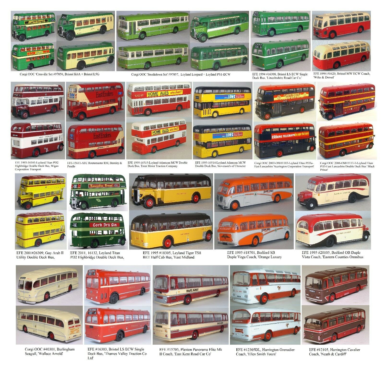 22 X Corgi OOC & EFE Buses  Lot of 22 1:76 British Buses