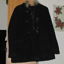 H&M Black Hooded Jacket Coat with Metal Toggle Closures and Zipper Size 14