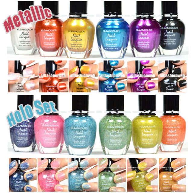 12 NEW PCS KLEANCOLOR FULL SIZE 6 METALLIC+ 6 HOLO SET NAIL POLISH LACQUER