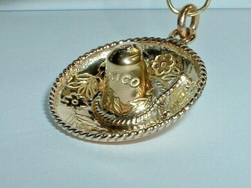 Vintage Mexican Hat Yellow Gold Cap for Charm Bracelet Celebrate Cinco de Mayo with Gift for Mom 14k Sombrero Charm