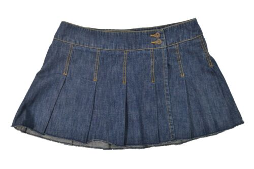 Roxy KANGA  Heather Blue Denim Jean Two Front Button Wrap Junior/'s Mini Skirt
