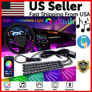 4X-48LED-RGB-Car-Interior-Atmosphere-Light-Strip-Bar-Bluetooth-APP-Music-Control