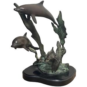 Nautisch Fein Klein Art Déco Stil Bronze 3 Delphine Skulptur Gratis Stehend