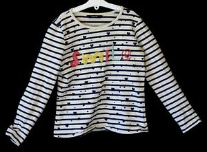 Girls-George-Blue-White-Breton-Stripe-Beaded-Smile-Sweater-Jumper-Age-8-9-Years