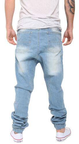 Men Cotton Jogging Elastic Pant Low Crotch Drawstring Baggy Twill HipHop Trouser