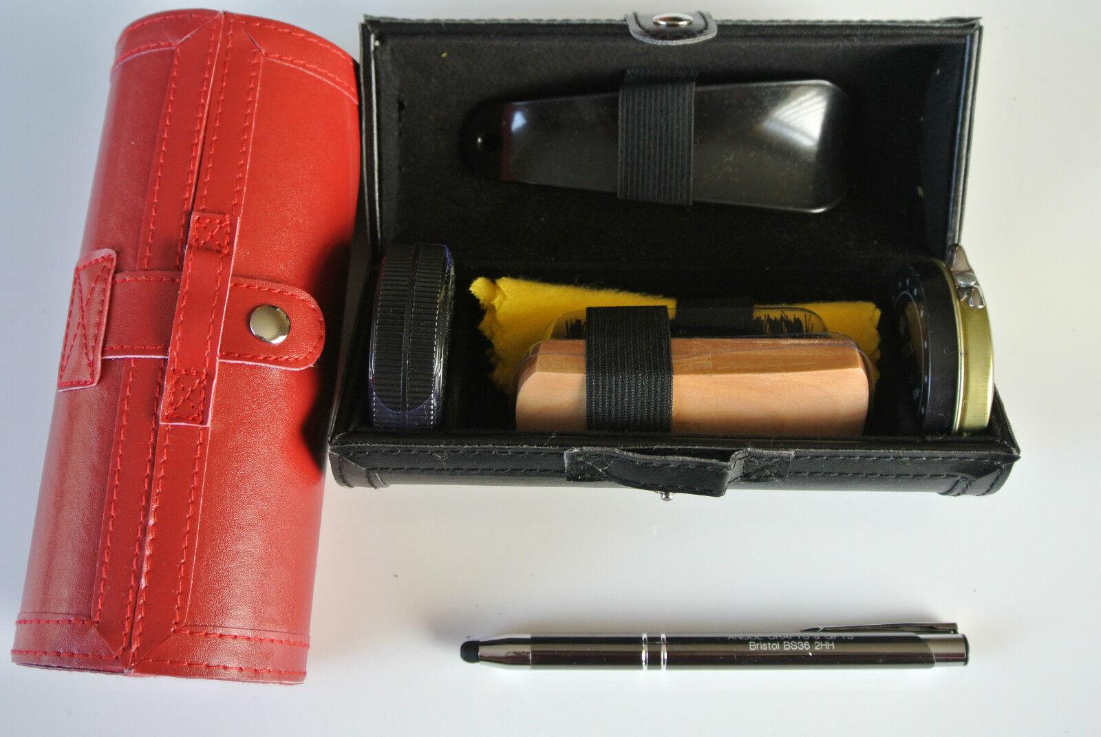 Shoe Shine Kit, LeatherLook Case, Fathers Day gift, travel,birthday,son,men