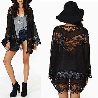 Womens Boho Lace Crochet Floral Splice Chiffon Kimono Tops Cardigan Coat Jacket