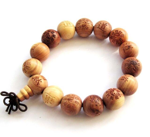wood taoist dao taiji 8-diagram prayer beads tibet buddhist mala  bracelet--15mm