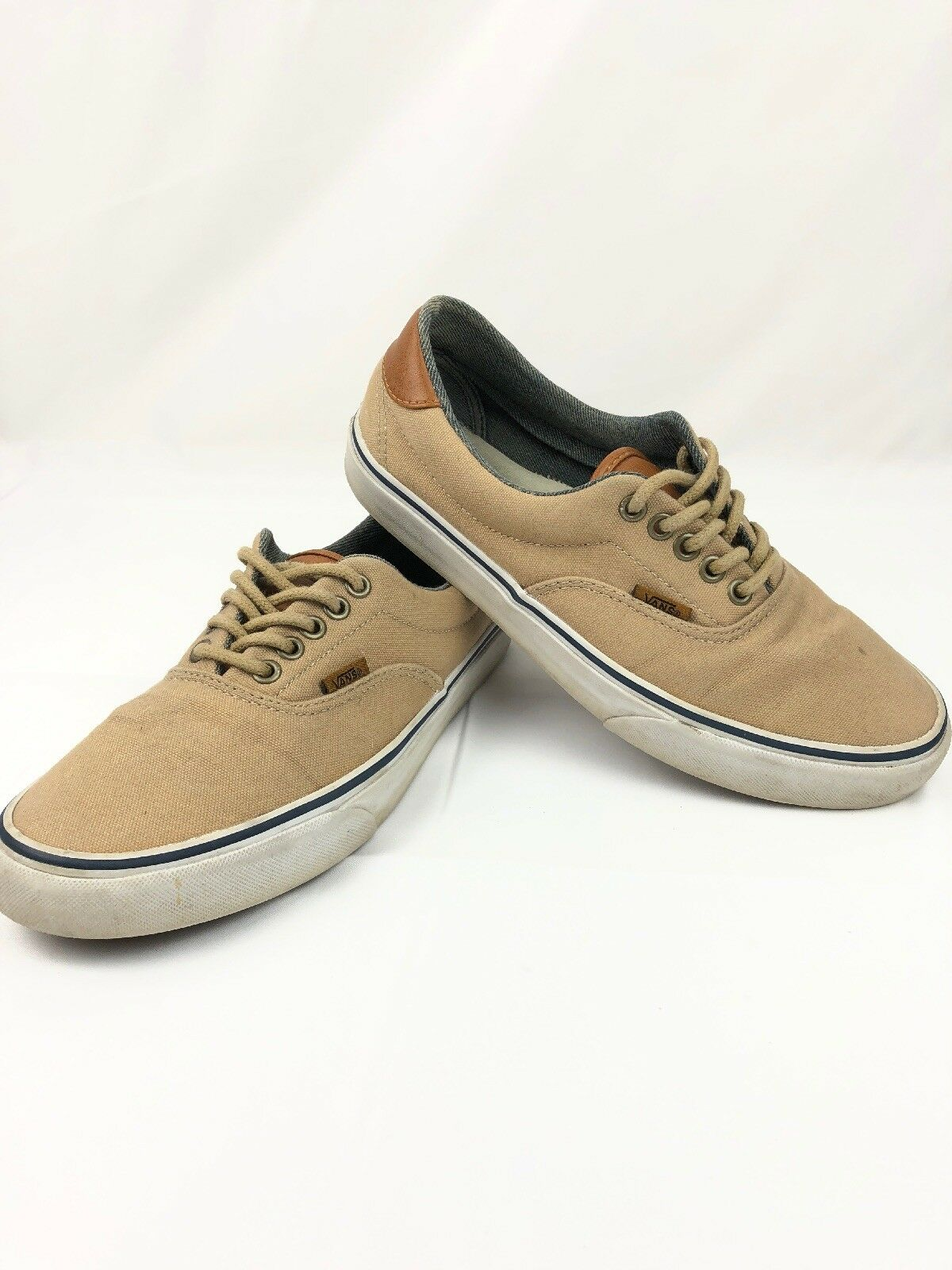 Vans Off The Wall Unisex Tan Beige Leather Canvas Tennis shoes Mens 7.5  W 9