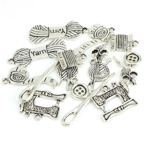 16pcs Tibetan Silver Tailor Tool Mix Charm Pendants Beads Jewelry Making DI Xf