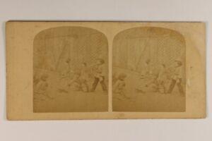 Francia Bambini Jeux Giardino c1865 Foto Stereo Vintage Albumina