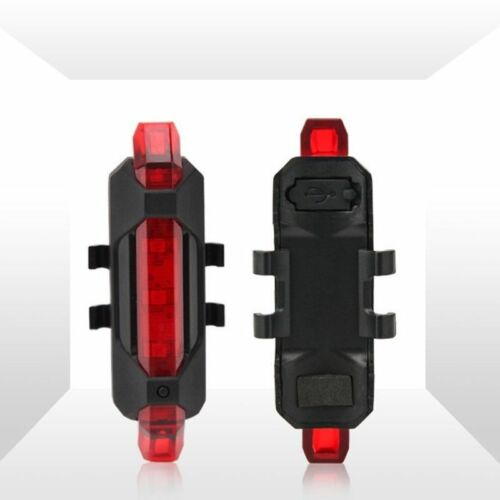 2Pcs Rechargeable RED Portable USB  Bike Tail Light Bicycle Rear Safety Lamp