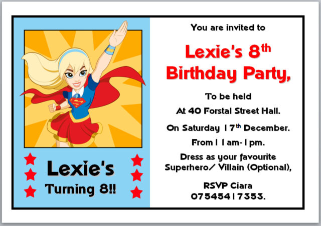 10 DC Super Hero Girls Supergirl Birthday Invitations With Envelopes