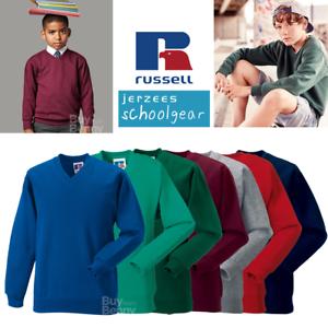 Russell-V-Neck-Felpa-Smart-Casual-Scuola-per-Bambini-Ragazzi-Ragazze-Maglione